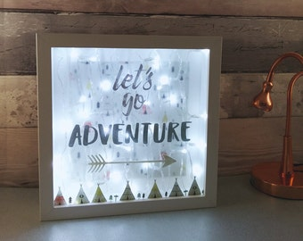 Adventure Night Light, Teepee decor, Kids room Lighting, Cowboys and Indians, Lets go Adventure Lightbox, Bedroom Wall Lamp, New baby gifts
