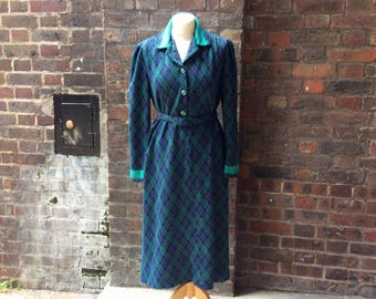 Vintage 1960s Green and Blue Mod Dress