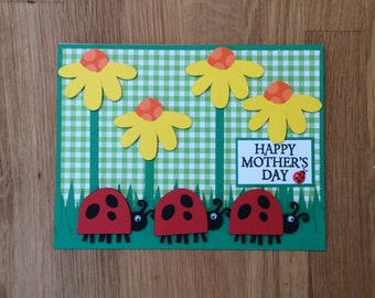 Ladybug Mother's Day Card/ Mother's Day Card/ Happy Mother's Day/ Ladybugs and Flowers
