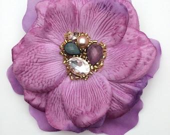 Handmade Purple Flower, Bead & Gem Centre Hair Clip / Corsage