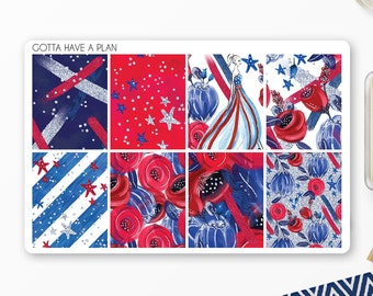 Planner Stickers July 4th Lady Liberty Full Box for Erin Condren, Happy Planner, Filofax, Scrapbooking