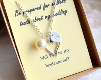 Bridesmaid necklace set of 10 ten Personalized bridesmaid gift set of 10 Heart necklace Bridesmaid jewelry set of 10 Bridesmaid proposal