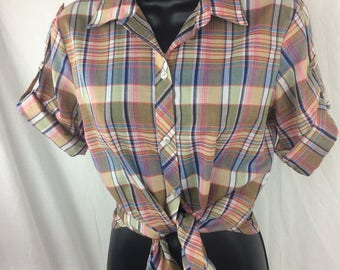 1980's Vintage Plaid Button-up short sleeve shirt