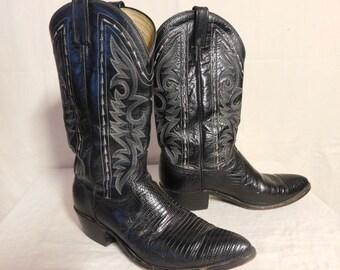 Dan Post black lizard skin boots--Men's size 9.5 D