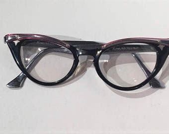 50s Hudson Aluminum Browline Cat Eye Glasses Frames, Vintage Pink Black Silver Combination Cateye Eyeglasses, Cat Eyeglasses, 60s Cats Eyes