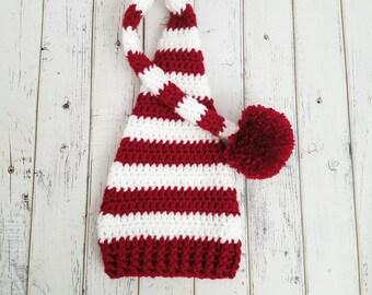 Crochet Christmas Elf Hat, Newborn Elf Hat, Santa Hat, Winter Hat, Striped Hat, Newborn Baby Elf HatLong Tail Hat, Sleepy Cap, MADE 2 ORDER