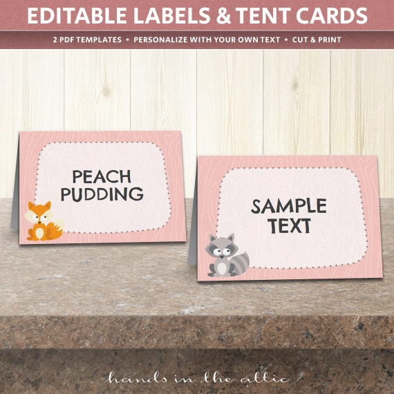 Woodland creatures woodland baby shower woodland nursery for Baby shower place cards template