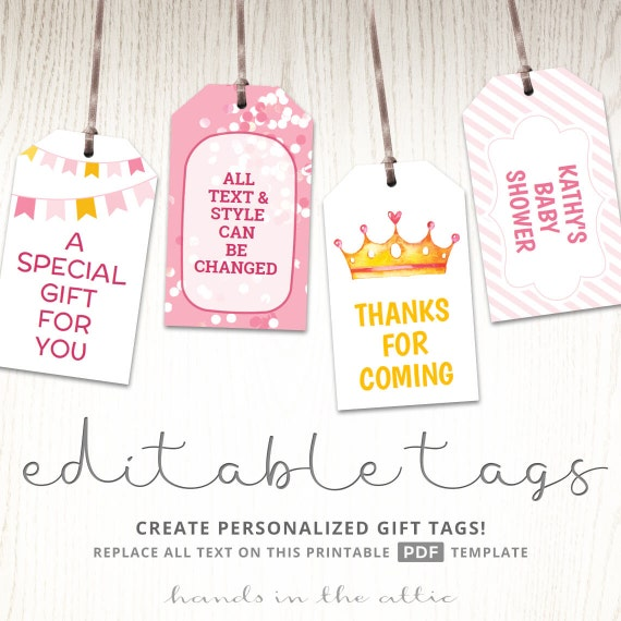 Editable Tags Pink Gift Tags Baby Girl Shower Favor Labels