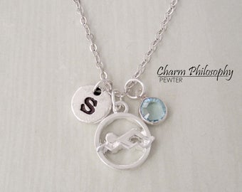 Swimming Necklace - Swimmer Gift - Gifts for Swimmers - Monogram Personalized Initial and Birthstone - Silver Jewelry