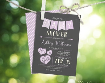 Lavender Baby Shower Invitation - Printable DIGITAL FILE