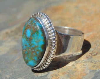 Oscar Alexius ~ Vintage Navajo Sterling and Turquoise Ring - Size 6.25