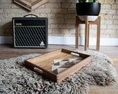 Wood Tray | Wood Serving Tray | Reclaimed Wood | Decorative Tray | Rustic Geometric| Table Tray | Mountain Art | Dark Walnut | Wood Decor