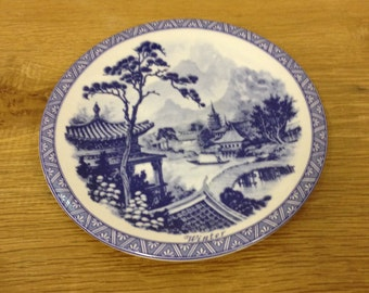 Vintage Rare Chinese Blue & White Winter Plate. In Very Good Condition.