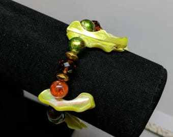 Green Wooden Orange Bracelet