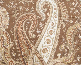 "Indian Designer Fabric, Paisley Print, Brown Fabric, Dress Material, Cotton Fabric, Sewing Decor, 42"" Inch Fabric By The Yard ZBC6832A"
