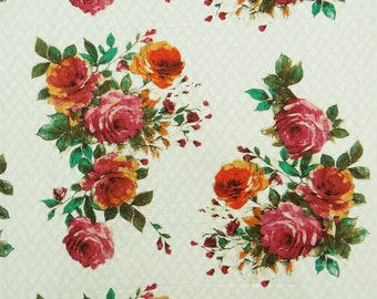 """Indian Dress Fabric, Multicolor Floral Print, Quilt Material, Home Accessories, Sewing Decor, 42"""" Inch Cotton Fabric By The Yard ZBC7142A"""