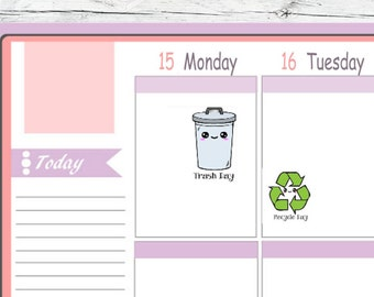 Itty Bitty or ECLP Size  Kawaii Trash Day & Recycle Day Stickers To Use With Erin Condren Planner