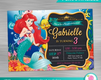 Little Mermaid invitation print yourself, little mermaid party printables, little mermaid party invitation DIY