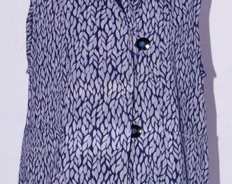 Blue Leaf, Long Cotton Vest - SP16-4606-A