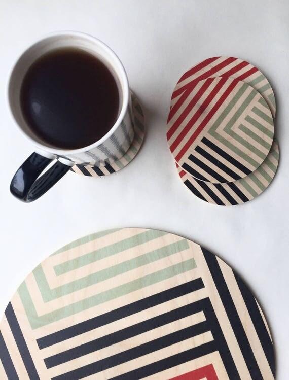 LINES set of 4 wood coasters