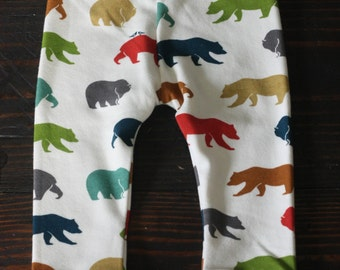 Organic Cotton Baby/Toddler Leggings/Cuffed Pants, Multi Colored Bear Family print