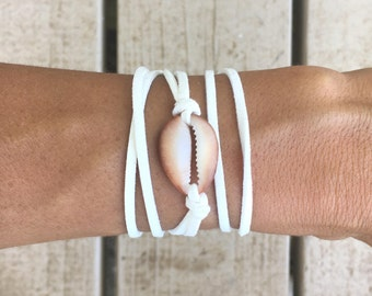 Cowrie Shell and White Leather Bracelet Wrap