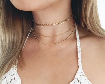 Delicate Gold Choker Necklace / Gold Choker Set / Dainty Gold Choker Necklace