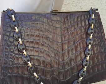 Vintage Croc Leather Chain Bag