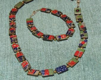 Mahjong Tiles Necklace & Bracelet Set