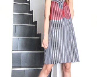 NEW Striped Mini Dress / Casual Dress / Sleeveless Mini Dress by FabraModaStudio / D134