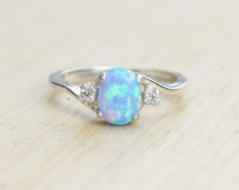 Silver Lab Opal Ring, Blue Opal Ring, Light Blue Opal Ring, Opal Engagement Ring, Promise Ring, Anniversary Gift For Her, October Birthstone