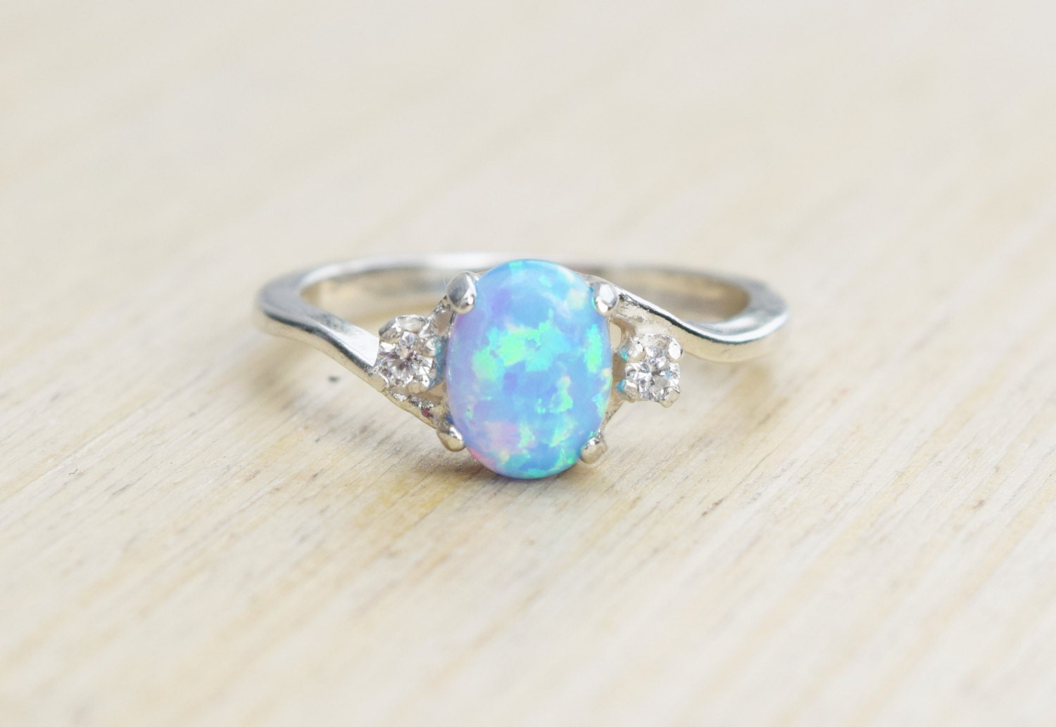 Silver Lab Opal Ring Blue Opal Ring Light Blue Opal Ring