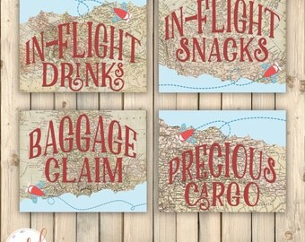 Vintage Travel Birthday Party Signs, In-Flight Drinks, Snacks, Baggage Claim, Precious Cargo, Around the World, Baby Shower Decor, Digital