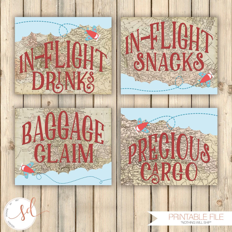 Vintage Travel Birthday Party Signs In-Flight Drinks Snacks