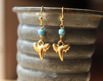 Turquoise Shark Tooth Earrings