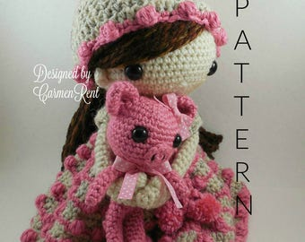 May and her piglet-Amigurumi Doll Crochet Pattern PDF