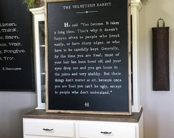 "Velveteen Rabbit 36"" x 48"" Book Page Framed Sign"
