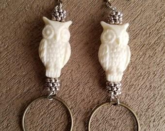 Ivory Owl Resin Earrings with Brass Rings