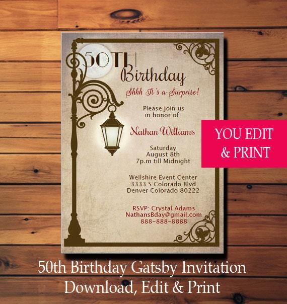 50th surprise birthday invitation 50th birthday invitation gatsby il570xn solutioingenieria Images