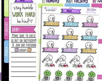 Sick Day Beedoo BD-004   18 Hand Drawn Planner Stickers