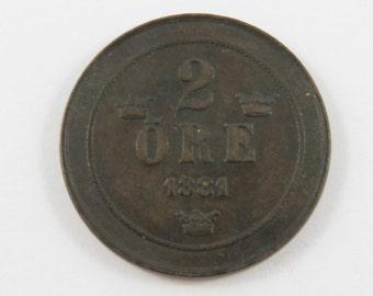 Sweden 1881 2 Ore Coin.