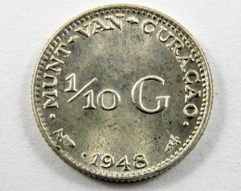 Curacao 1948 Silver 1/10 Gulden Coin.