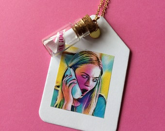 Message In A Bottle Charm Necklace - Mean Girls Words of Wisdom Quote
