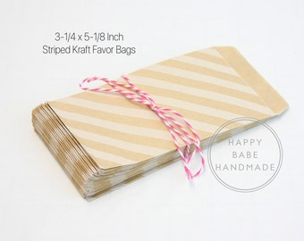 20 Striped Paper Bags, 3-1/4 x 5-1/8 Inch, Favor Bag, Welcome Bag, Coin Envelope, Kraft Paper Bag, Wedding Favor, Treat Bag, Party Favor Bag