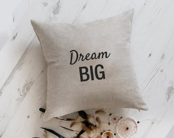 Cushion Dream Big, Modern embroidery pillow cover Inspirational throw pillow, word pillow, quote pillow,  pillow with saying, hippie