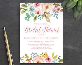 Printable Bridal Shower Invitation Template, Instant Download, Wedding Shower Invitation, Floral, Watercolor, Boho, Bridal Shower Invites