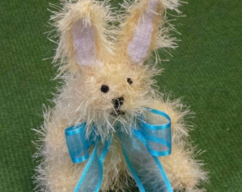 Hand Knitted Easter Bunny Rabbit in Sparkly Lemon Yellow Tinsel Wool - 16cm Tall