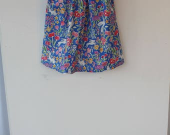 Retro style cotton dress made from Michael Miller fabric for a 6-1 year old baby.Party dress, gift idea.