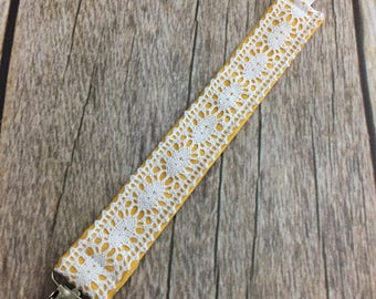 Yellow Lace Universal Pacifier Clip - Mustard Yellow with Eyelet Lace - Pacifier Clip, Paci Clip, Binky Clip - Baby Gift - READY TO SHIP