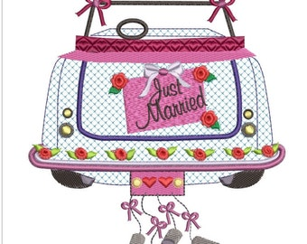 JUST MARRIED car machine embroidery download 3 diff sizes ( 5x5  6x6  7x7)